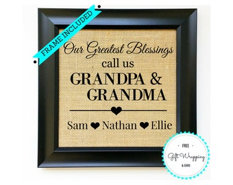Grandparent day gift etsy grandma grandpa gift for grandparents day gifts grandfather grandmother present grandchildren names sign nana papa negle Gallery