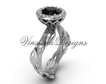 platinum diamond leaf and vine engagement ring, Black Diamond VF301002