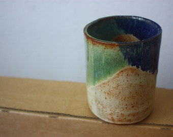 Blue and green ceramic tumbler - beautiful handmade clay pottery - functional stoneware