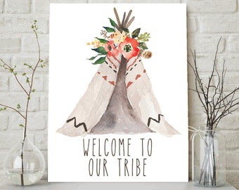 Welcome To Our Tribe, Tribal Nursery, Welcome To Our Tribe Print, Tribal Nursery Art, Girls Room Decor, Baby Girl Nursery Print, Wall Art