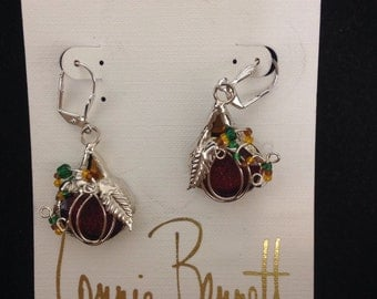 Beautiful Halloween or Thanksgiving Ruby Red, Green, and Orange Pumpkin Earrings Dichroic Glass fused by Connie Bennett