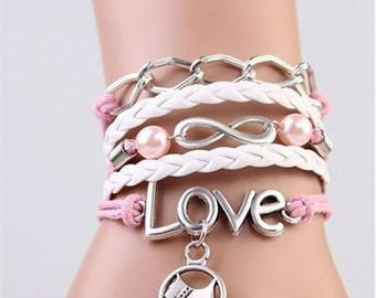 Pink Infinity Bracelet Pink Beads Love Scottie Leather Braid