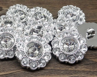 Large CRYSTAL CLEAR Rhinestone Buttons Round Buttons Garment Buttons DIY Embellishments Bridal Buttons Sewing Buttons 30mm 2997 2R
