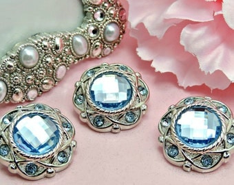 BABY BLUE Rhinestone Buttons Acrylic Rhinestone Buttons Rhinestone Buttons Coat Buttons Fashion Buttons Sewing Buttons 25mm 3192 11R
