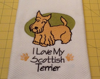 I Love My Scottish Terrier (Tan Scottie) Embroidered Kitchen Hand Towel, Williams Sonoma All Purpose, 100% cotton & Extra Large 20 x 30.