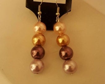 Dangle Earrings-Multi color-Pearl