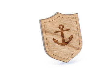 Rose Anchor Lapel Pin, Wooden Pin, Wooden Lapel, Gift For Him or Her, Wedding Gifts, Groomsman Gifts, and Personalized