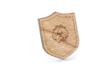 Shih Tzu Lapel Pin, Wooden Pin, Wooden Lapel, Gift For Him or Her, Wedding Gifts, Groomsman Gifts, and Personalized