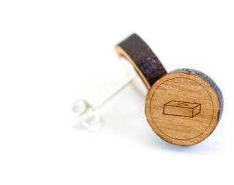Brick Stud Earring, Wooden Earring, Gift For Him or Her, Wedding Gifts, Groomsman Gifts, Bridesmaid Gifts, and Personalized
