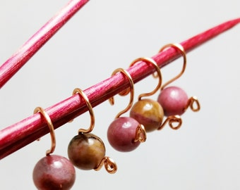 Rhodonite Stitch Markers