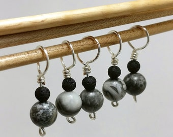 Jasper and Volcanic Rock Stitch Markers