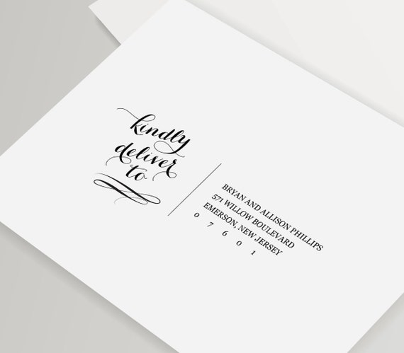 Calligraphy Address Template Wedding Envelope By