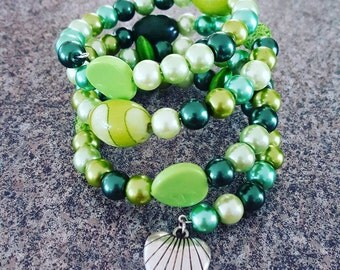 Chunky Green Multi Bead Memory Wire Bracelet with Charm
