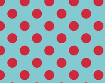 Riley Blake Medium Dot, Aqua and Red,  fabric by the yard