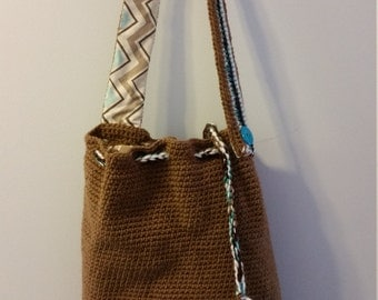 Brown and Patterned bogo style bag