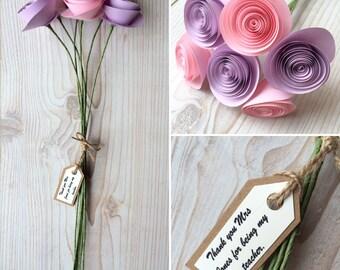 Thank You Teacher Gift Bouquet - Paper Flower Bouquet - Gift Bouquet - For My Teacher
