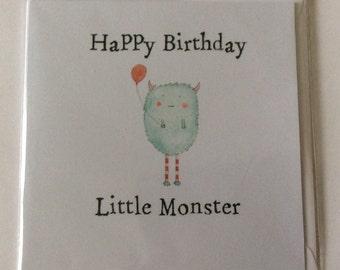 """Handmade Birthday card- Little monster- 6x6"""""""