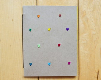 Mini Hearts Card (Brown Paper with Colored Threads)