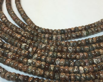 6MM leopard roundelle beads