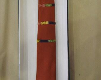 1950s Orange Embroidered Necktie