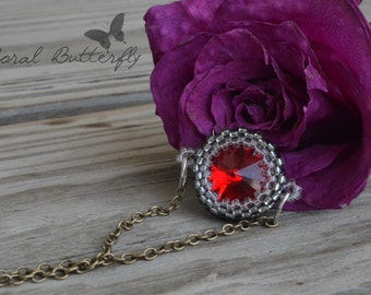 Beaded Swarovski Crystal side necklace