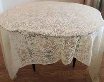 Vintage Lace Tablecloth Rectangular Off White Light Cream Color, Vintage Lace Tablecloth, Lace Tablecloth, Rectangular Tablecloth,Tablecloth