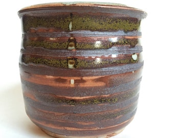 ribbed metallic studio pottery planter pot