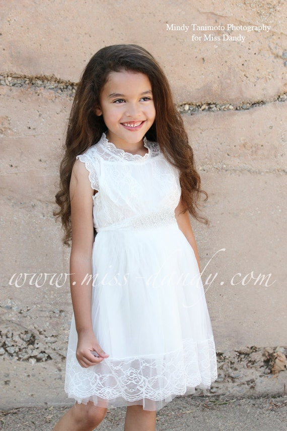 Grace Dress -  White Flower Girl French Lace & Rhinestone Sash Dress, Shabby Chic dress, Bohemian dress, flower girl dress, first birthday