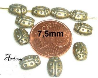10 beads bronze 7, 5mm Ladybug (107.7,5)