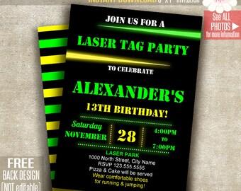 Laser Tag invitation, Laser tag party invite, Laser birthday party, Printable Self Editable PDF File A148