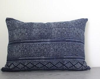 Indigo Block Print Hmong Lumbar Pillow Cover