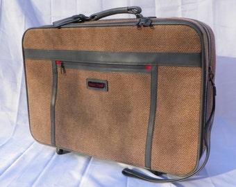 Vintage Tweed  Suitcase, Frequent Traveler Wheeled, Pull- Behind Luggage, Retro Luggage, Vintage Suitcase, Great Shape but Needs Repair