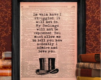 In Vain Have I Struggled quote, from Pride and Prejudice by Jane Austen, Vintage Wall Art, Recycled, Upcycled, 8.5x11 Print