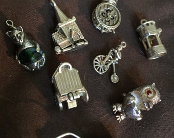 Vintage Sterlibg Silver Charms Movers