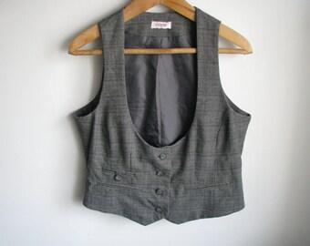 Gray checkered women vest Retro vintage colored waistcoat Casual outfit Medium Large L size vest US-12 EU-40 AUS-16 size
