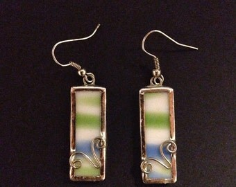 Green, blue and white stained glass earrings