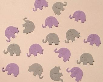200 Lavender and Gray Elephant Confetti Lavender and Gray Confetti Elephant Confetti Baby Confetti Baby Shower Confetti Purple Die Cut
