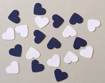 200 White and Navy Heart Confetti Birthday Confetti Nautical Confetti Wedding Confetti Shower Confetti Blue Confetti White Confetti