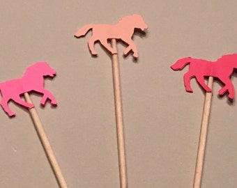 12 Pink Horse Cupcake Toppers Baby Cupcake Toppers Pony Cupcake Toppers Baby Shower Cupcake Toppers Birthday Cupcake Toppers  Pink Toppers