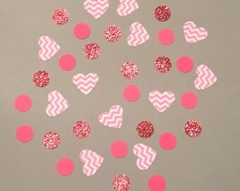 225 Pink and White Confetti Glitter Confetti Heart Confetti Shower Confetti Baby Confetti Wedding Confetti Birthday Confetti Baby Girl