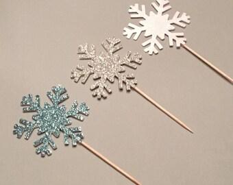 12 Snowflake Cupcake Toppers Christmas Cupcake Toppers Glitter Winter Cupcake Toppers Birthday Cupcake Toppers Wedding Cupcake Toppers