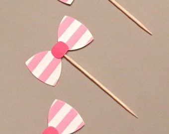 12 Pink White Bow Cupcake Toppers Bow Cupcake Toppers Baby Shower Cupcake Toppers Birthday Cupcake Toppers Wedding Shower Cupcake Toppers
