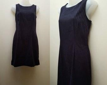 SALE Vintage 1990s Striped Mini Dress // 90s Dark Navy Stripe Mini Dress Fall Winter Medium