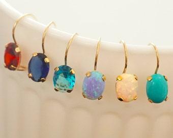 14k Earrings - solid gold earrings - gold drop earrings - 14K earrings - cubic zircon earrings - small drop earrings - simple drop earrings