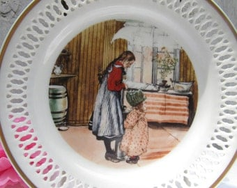 Carl Larsson collectible plate, the Kitchen plate, older sister and younger sister in kitchen, Kokkenet, B & G porcelain Scandinavian plate