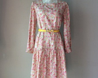 1950s dress, vintage dress, floral dress, pink dress, 1960s, casual dress, day dress, summer dress,