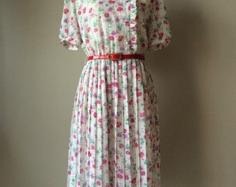1950s style dress Made in 1980s by Miss Onward vintage dress, classic vintage 1950s style, floral dress, chiffon dress
