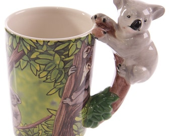 Coffee Cup Jungle Ceramic Mug with Koala Shaped Handle Unusual Gift Ideas