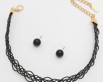 Braided Metal Choker Necklace and Earring Set