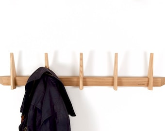 coat rack untreated oak wood Danish design